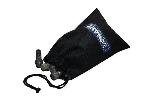 Boltpose i tekstil, sort med digitaltrykk
