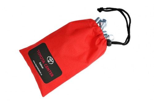 Boltpose i tekstil, rød med digitaltrykk