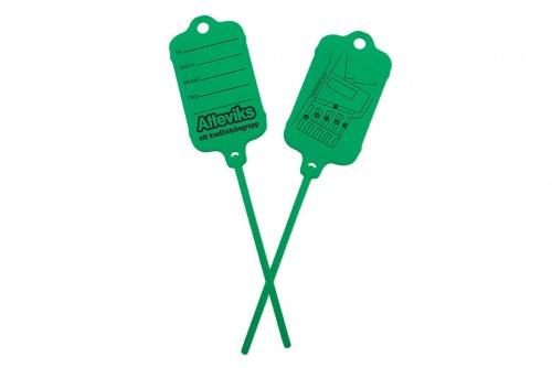 Keytag vihreä, molemmilla puolilla oma painatus
