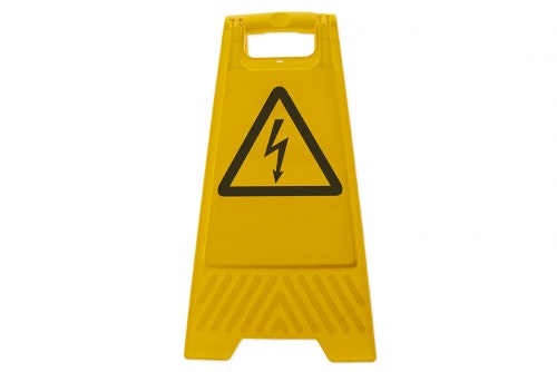 Floor standing safety sign - Deadly voltage