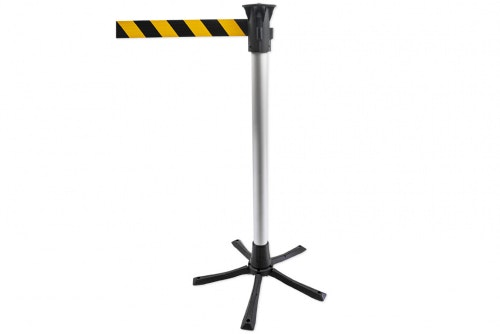 Barrier posts with warning belt