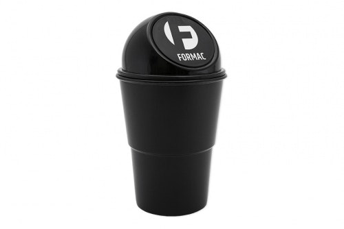 Mini trash can in black plastic