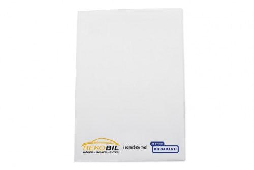 Ajoneuvokansio valkoista muovia, A5, asiakkaalle räätälöity 3-väri painatus