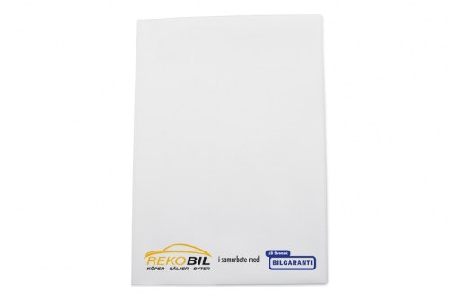 Vehicle folder in white plastic, A5 with customized 3-color print