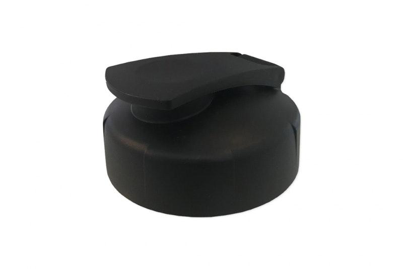 Vattenflaska Kick vit, med svart lock,1-färgstryck