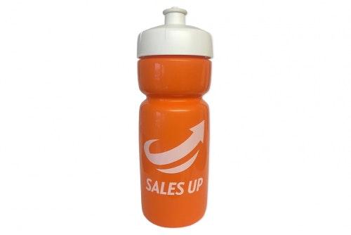 Vattenflaska Hit Soft orange, med vitt lock, 1-färgstryck