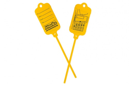Key tag yellow, with customized print 2 sides