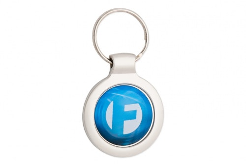Key ring metal, circular with 3D-emblem