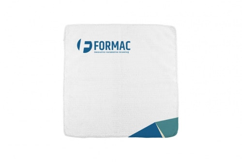 Microfiber cloth white with 3-color print