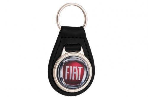 Key ring leather metal, with 3D-emblem
